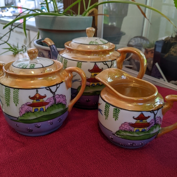 Pagoda Peach Blue Lusterware Tea Set